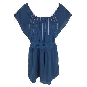 Rory Beca Womens Blue Key Hole Dress M